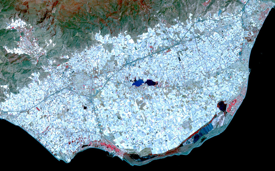 """Almeria-Spania: """"Infernul serelor""""; recolta de legume și fructe obținută din cultivarea a peste 33.000 de hectare de spații protejate este distribuită în toate hypermarketurile din Uniunea Europeană"""