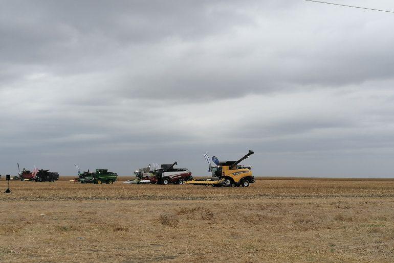 Piața utilajelor agricole: șapte combine au participat la o demonstrație într-un lan de porumb dintr-o fermă din jud. Călărași